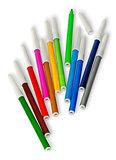 Scattered colored felt tip pens