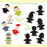 Cartoon Vector Illustration of Find the Shadow