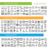 Vector illustration of thin line icons for technology household transport