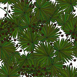 Tropical island seamless pattern. Palm leaves, jungle