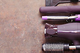 Set the tools hairdressers - hair dryer, curling iron, comb
