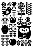 Finnish inspired folk art pattern - Scandinavian, Nordic style - monochrome