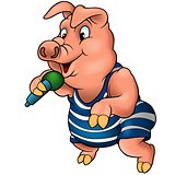 Pig With Microphone