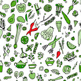 Green vegetables, detox. Seamless pattern design
