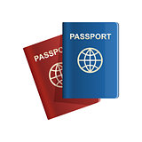 Red and blue leather Passport icon Vector illustration