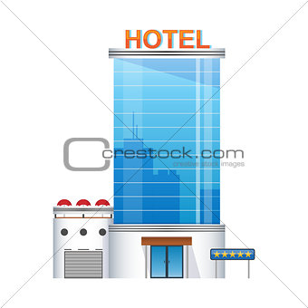 five-star hotel building 3d icon
