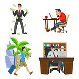 businessman character. The life of the unemployed to rich man. Work and travel. Workplace boss.