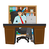 Businessman Working at Office Table. Flat Design Style. Boss with Workspace