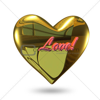 3D Illustration of a Heart of Gold