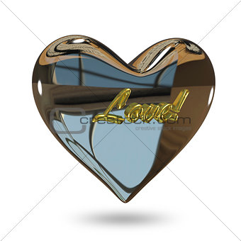 3D Illustration of a Metal Heart