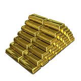 3D Illustration of a Stack of of Gold Bullion