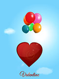 Red heart flying with balloons over blue sky