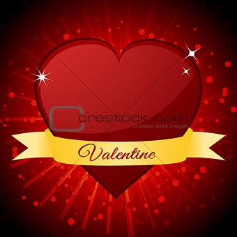 Valentine red heart and banner over starburst
