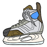 Sketch of hockey skates. Skates to play hockey on ice, vector illustration