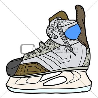 Sketch of hockey skates. Skates to play hockey on ice, vector illustration