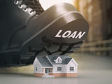 Mortgage house loan crisis concept. Foreclosure and repossession