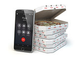 Mobile pizza ordering and delivery concept. Smartphone and pizza