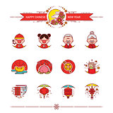 Happy Chinese New Year Icons Set
