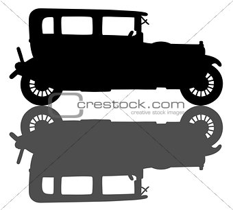 Black silhouette of a vintage car