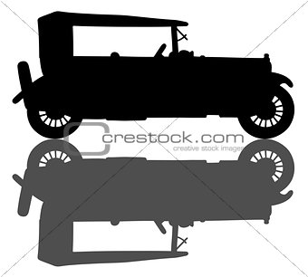 Black silhouette of a vintage convertible