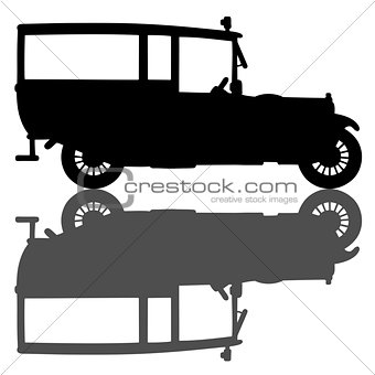 Black silhouette of a vintage ambulance