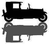Black silhouette of a vintage limousine