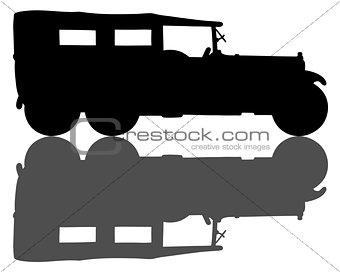 Black silhouette of a vintage military car