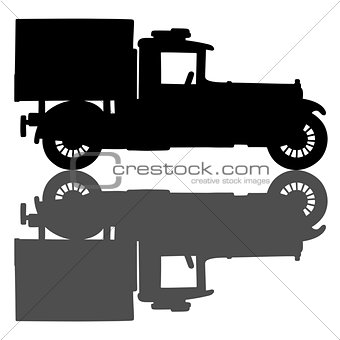 Black silhouette of a vintage truck