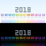 Calendar 2018 template with rainbow digital text. Vector EPS10.