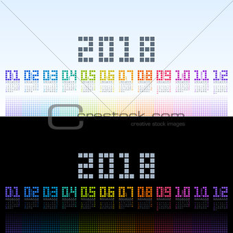 Calendar 2018 template with rainbow digital text. Vector EPS10.