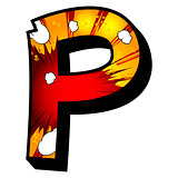 Letter P filled with comic book background.