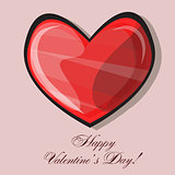 Red heart classic valentines day vector illustration