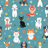 Seamless pattern with cats and dogs flat design