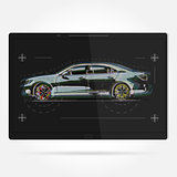 Vector illustration template. Tablet with a picture of the car.