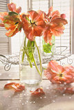 Colorful tulips on table