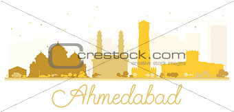Ahmedabad City skyline golden silhouette.