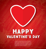 Happy Valentine's Day Greeting Card with Red Heart.