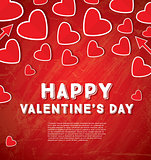 Happy Valentine's Day Greeting Card with Red Hearts.