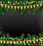 Empty Christmas Template with Fir Branches, Neon Garlands and Fl