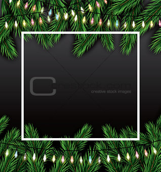 Christmas Card with Fir Branches, Neon Garland and White Frame.