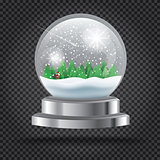Transparent Christmas Crystal Ball with Santa Claus and Tree.