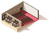 Vector isometric low poly movie theater cutaway