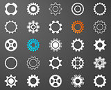 Collection of white gear wheel icons