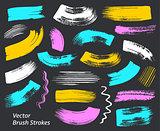 Grunge vector art brush strokes collection