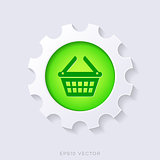 Green vector 3d shopping basket symbol