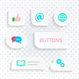 Vector white web buttons with simple icons
