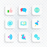Vector white web social media buttons