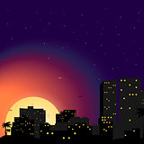 Vector Town illustration.City at night