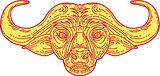 African Buffalo Head Mono Line
