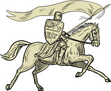 Knight Riding Horse Shield Lance Flag Drawing